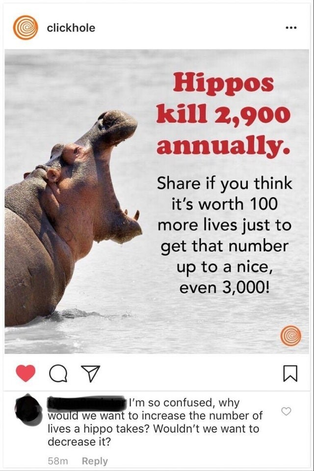 Adaptation - clickhole Hippos kill 2,900 annually. Share if you think it's worth 100 more lives just to get that number up to a nice, even 3,000! I'm so confused, why Would we want to increase the number of lives a hippo takes? Wouldn't we want to decrease it? 58m Reply