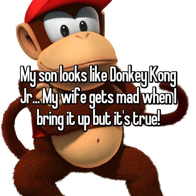 """My son looks like Donkey Kong Jr...My wife gets mad when I bring it up but it's true!"""