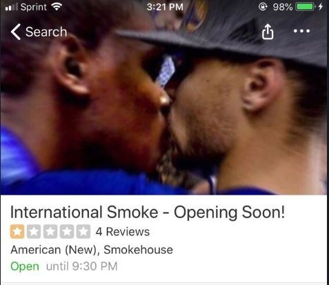 Yelp photo added of Steph Curry kissing Kevin Durant
