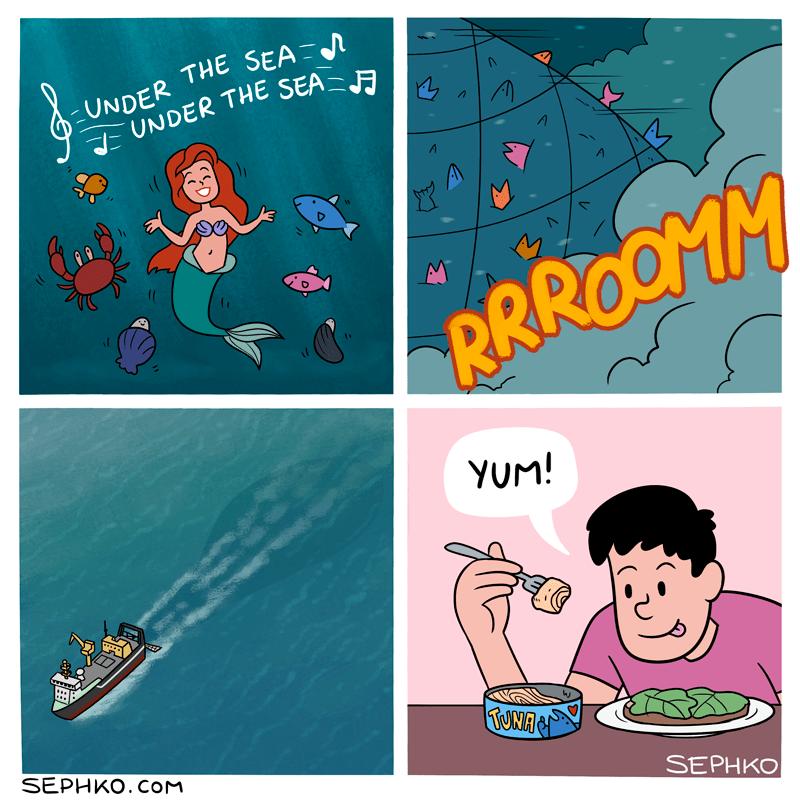 cuando hasta la sirenita la convierten en tuna