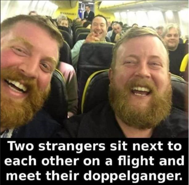 Facial hair - Two strangers sit next to each other on a flight and meet their doppelganger.