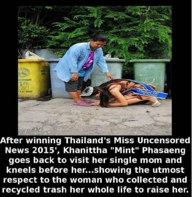 "Text - Thailand 205 tD/3548 After winning Thailand's Miss Uncensored News 2015', Khanittha ""Mint"" Phasaeng goes back to visit her single mom and kneels before her...showing the utmost respect to the woman who collected and recycled trash her whole life to raise her."