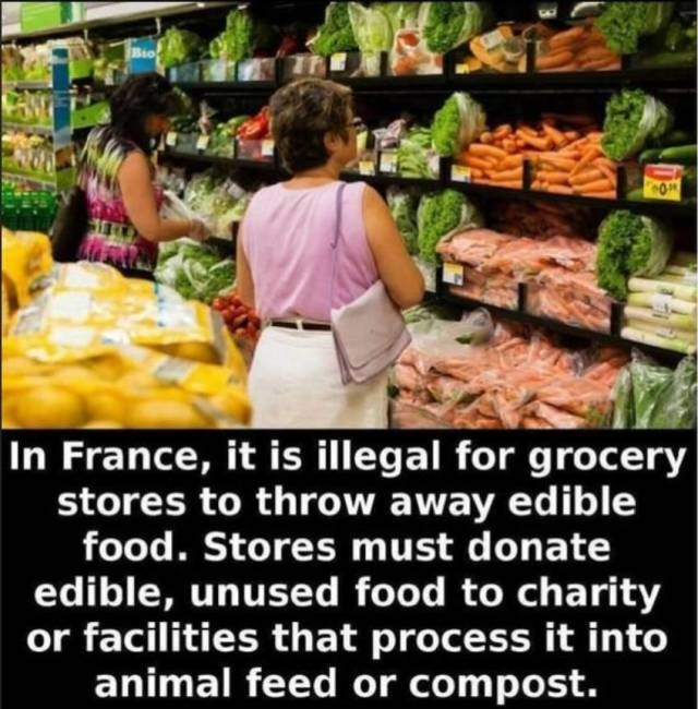 Natural foods - Bio In France, it is illegal for grocery stores to throw away edible food. Stores must donate edible, unused food to charity or facilities that process it into animal feed or compost.