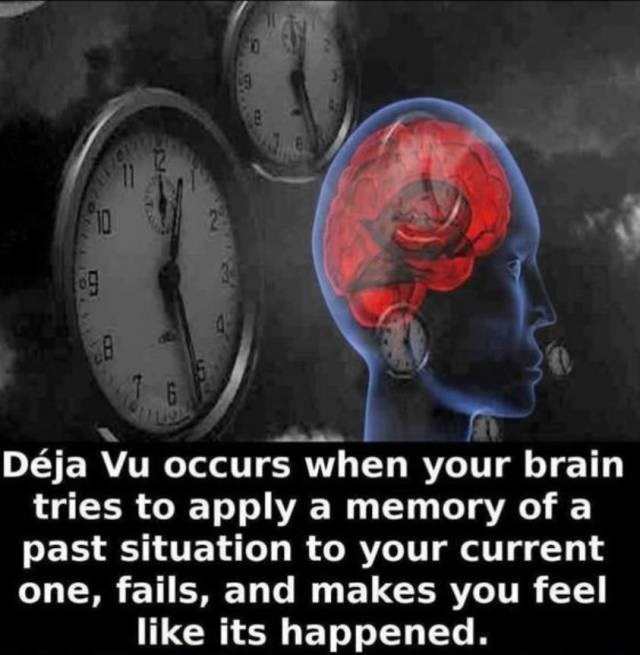Red - 10 1 G Déja Vu occurs when your brain tries to apply a memory of a past situation to your current one, fails, and makes you feel like its happened