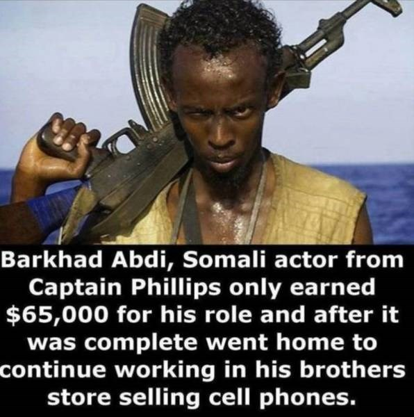 Hairstyle - Barkhad Abdi, Somali actor from Captain Phillips only earned $65,000 for his role and after it was complete went home to continue working in his brothers store selling cell phones.