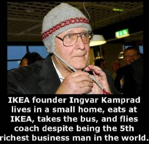 Photo caption - IKEA founder Ingvar Kamprad lives in a small home, eats at IKEA, takes the bus, and flies coach despite being the 5th richest business man in the world.