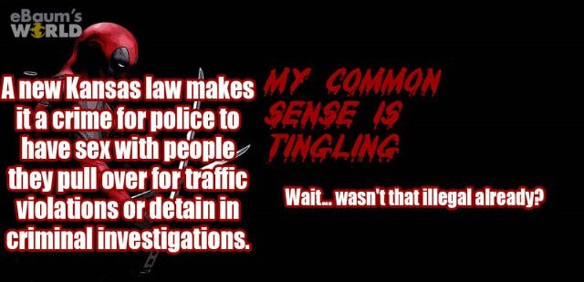 Text - eBaum's WERLD A new Kansas law makesM COMMON ita crime for police to SENSE S have sex with people TINGLING they pullover fortraffic violations or detain in criminal investigations. Wai...wasn't that illegal already?
