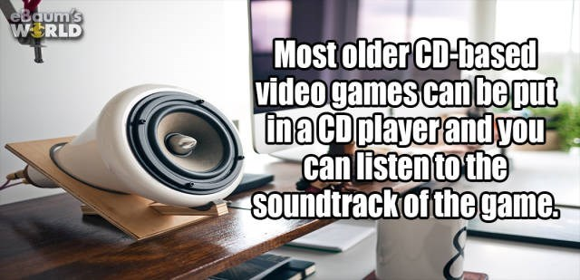 Product - eBaum's W RLD Most older CD-based videogamescanbe put inaCD playerand you can listen to the Soundtrackof thegame
