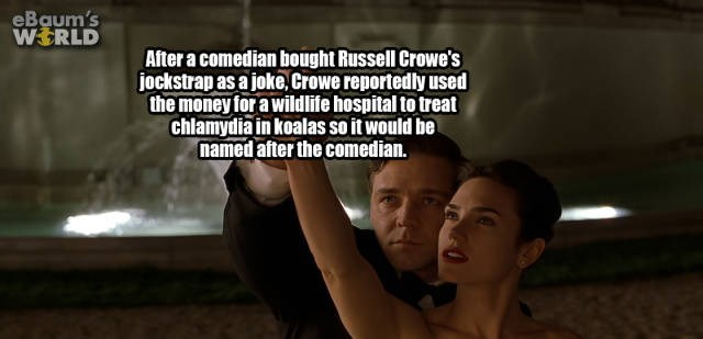 Text - eBaum's WERLD After a comedian bought Russell Crowe's jockstrap as a joke, Crowe reportedly used the money for a wildlife hospital to treat chlamydia in koalas so it would be named after the comedian.