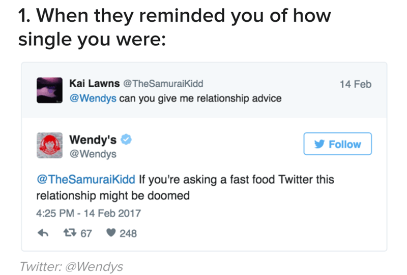 Text - 1. When they reminded you of how single you were: Kai Lawns @TheSamuraiKidd 14 Feb @Wendys can you give me relationship advice Wendy's @Wendys Follow @TheSamuraiKidd If you're asking a fast food Twitter this relationship might be doomed 4:25 PM-14 Feb 2017 t67 248 Twitter: @Wendys