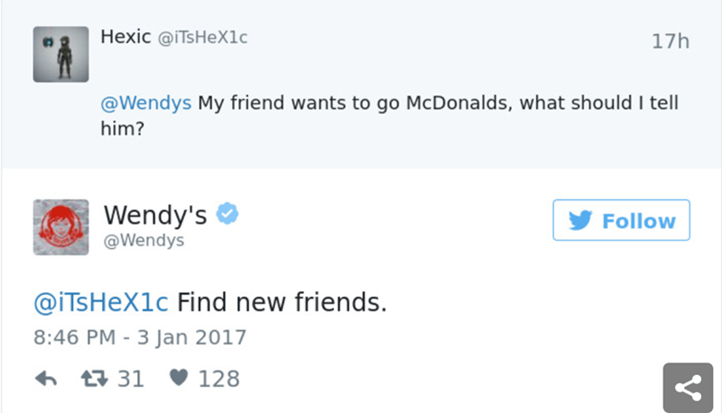 Text - Hexic @ITsHeX1c 17h @Wendys My friend wants to go McDonalds, what should I tell him? Wendy's Follow @Wendys @iTsHeX1c Find new friends. 8:46 PM -3 Jan 2017 t31 128 V