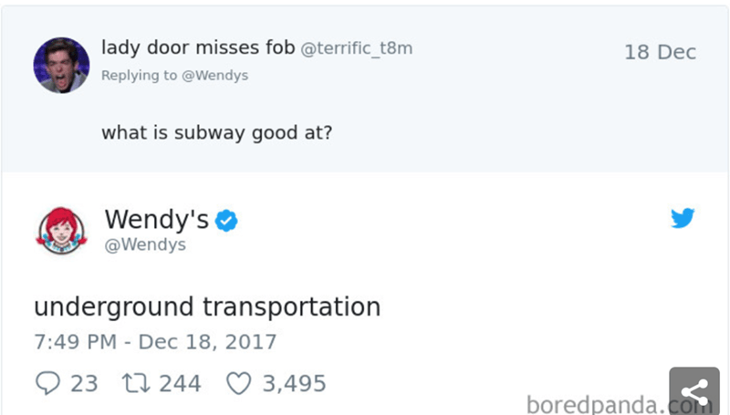 Text - lady door misses fob @terrific_t8m 18 Dec Replying to @Wendys what is subway good at? Wendy's @Wendys underground transportation 7:49 PM - Dec 18, 2017 23 t244 3,495 boredpanda.Com