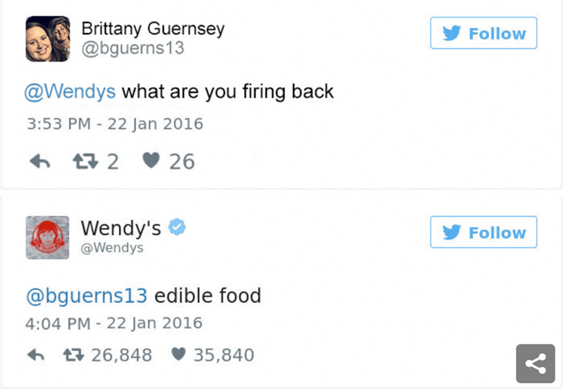 Text - Brittany Guernsey @bguerns13 Follow @Wendys what are you firing back 3:53 PM 22 Jan 2016 t2 26 Wendy's @Wendys Follow @bguerns13 edible food 4:04 PM - 22 Jan 2016 t26,848 35,840