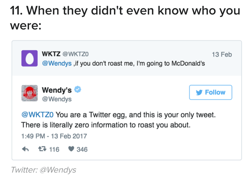 Text - 11. When they didn't even know who you were: WKTZ @WKTZO 13 Feb @Wendys ,if you don't roast me, I'm going to McDonald's Wendy's @Wendys Follow @WKTZO You are a Twitter egg, and this is your only tweet There is literally zero information to roast you about 1:49 PM-13 Feb 2017 116 346 Twitter: @Wendys
