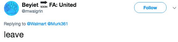 Text - Beyiet @mwalgrin FA: United SOON Follow Replying to @Walmart @Murk361 leave