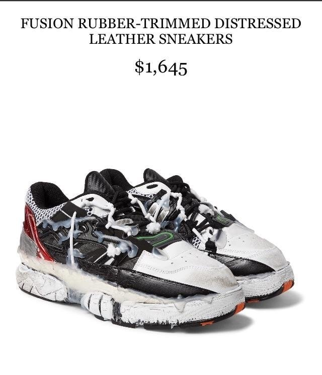 Shoe - FUSION RUBBER-TRIMMED DISTRESSED LEATHER SNEAKERS $1,645
