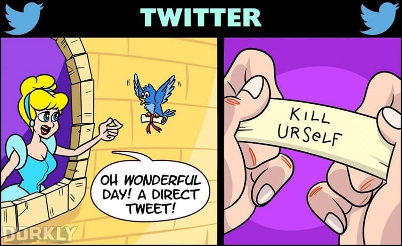 Cartoon - TWITTER KILL URSELF OH WONDERFUL DAY! A DIRECT TWEET! DURKLY