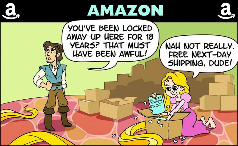 Cartoon - а AMAZON а. You'VE BEEN LOCKED AWAY UP HERE FOR 18 YEARS? THAT MUST HAVE BEEN AWFUL! NAH NOT REALLY FREE NEXT-DAY SHIPPING, DUDE! Shampoo XXL