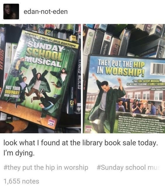 "DVD of ""Sunday School Musical"" that someone found at the library"