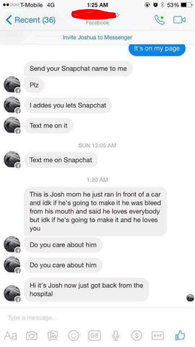 Kid asks for Snapchat from someone, later on messages that someone was hit by a car
