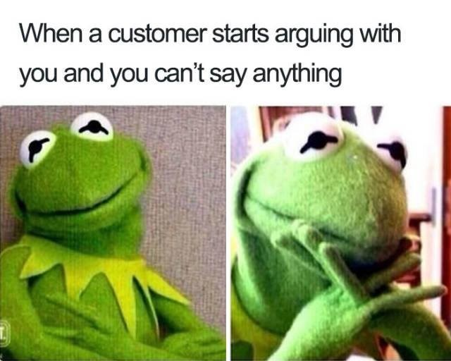 meme - Frog - When a customer starts arguing with you and you can't say anything
