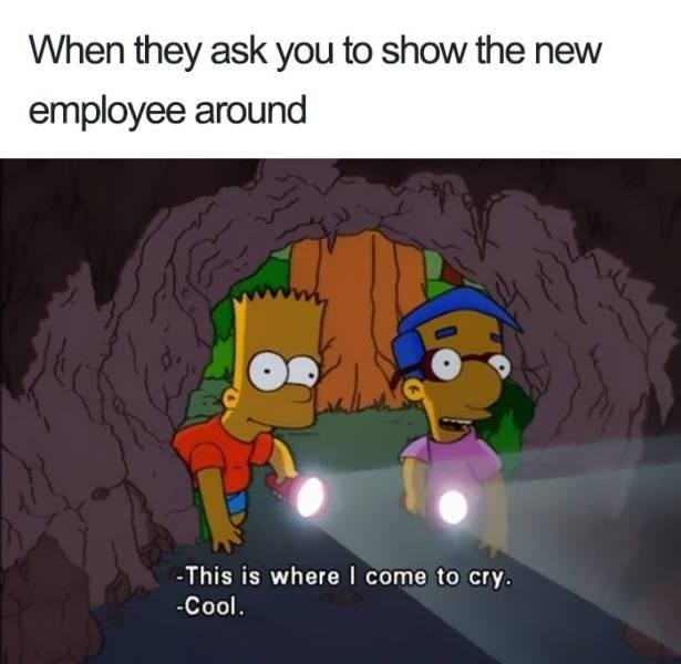 meme - Cartoon - When they ask you to show the new employee around -This is where I come to cry. Cool.
