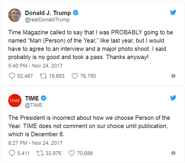 "Text - Donald J. Trump @realDonaldTrump Time Magazine called to say that was PROBABLY going to be named ""Man (Person) of the Year,"" like last year, but I would have to agree to an interview and a major photo shoot. I said probably is no good and took a pass. Thanks anyway! 5:40 PM - Nov 24, 2017 52,487 19,853 76,750 TIME TIME @TIME The President is incorrect about how we choose Person of the Year. TIME does not comment on our choice until publication, which is December 6. 8:27 PM - Nov 24, 2017"