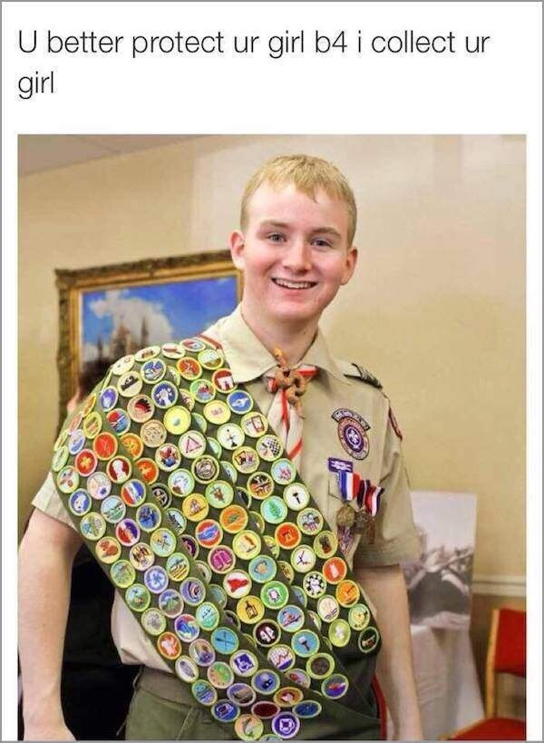 Funny meme about boyscot with many badges.
