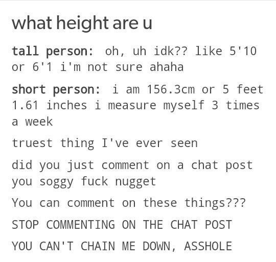 Text - what height are u tall person: oh, uh idk?? like 5'10 or 6'1 i'm not sure ahaha short person: i am 156.3cm or 5 feet 1.61 inches i measure myself 3 times a week truest thing I've ever seen did you just comment on a chat post you soggy fuck nugget You can comment on these things??? STOP COMMENTING ON THE CHAT POST YOU CAN'T CHAIN ME DOWN, ASSHOLE