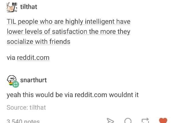 Text - REI tilthat TIL people who are highly intelligent have lower levels of satisfaction the more they socialize with friends via reddit.com snarthurt yeah this would be via reddit.com wouldnt it Source: tilthat 3.540 notes