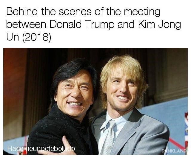 "Photo of of Jackie Chan hugging Owen Wilson with the caption, ""Behind the scenes of the meeting between Donald Trump and Kim Jong Un (2018)"""