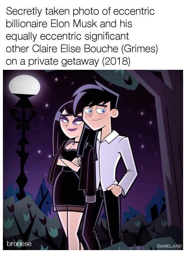 Cartoon - Secretly taken photo of eccentric billionaire Elon Musk and his equally eccentric significant other Claire Elise Bouche (Grimes) on a private getaway (2018) bronese DANKLAND