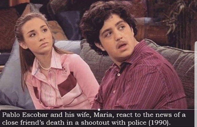 People - Pablo Escobar and his wife, Maria, react to the news of a close friend's death in a shootout with police (1990)