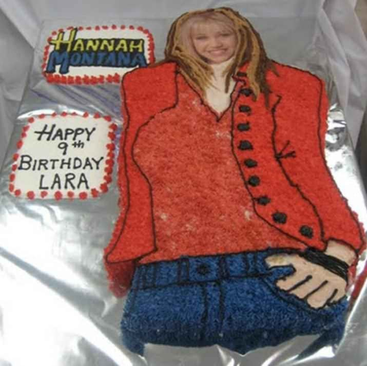 Cake with a design of Hannah Montana with a very small head