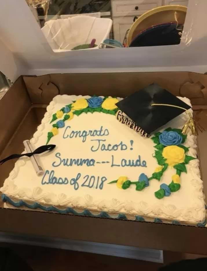 Cake - Ghnawy Congrads Jacob! Sunma--Lauda Clooo of 2018