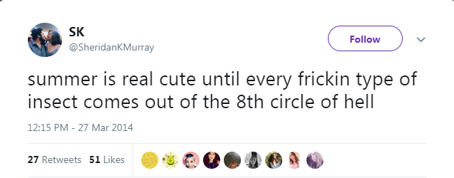 summer tweet - Text - SK Follow @SheridanKMurray summer is real cute until every frickin type of insect comes out of the 8th circle of hell 12:15 PM - 27 Mar 2014 27 Retweets 51 Likes
