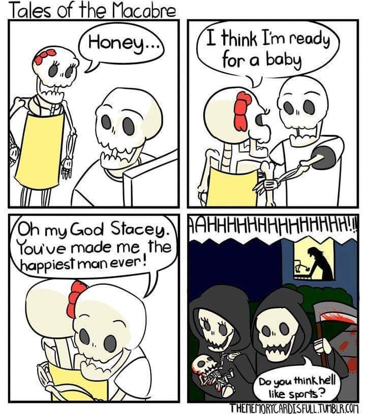 dank meme about a grim reaper couple stealing a baby