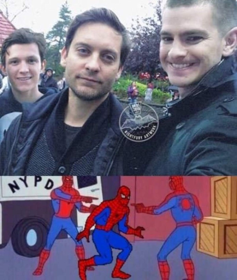 spider man actors and multiple spiderman meme