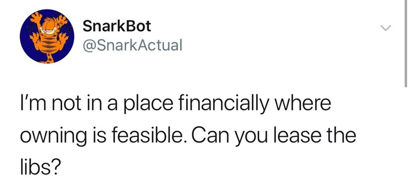 twitter post I'm not in a place financially where owning is feasible. Can you lease the libs?