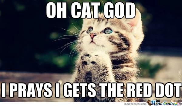 Photo caption - OH CAT GOD IPRAYS IGETS THERED DOT MameCenter memecenter.com