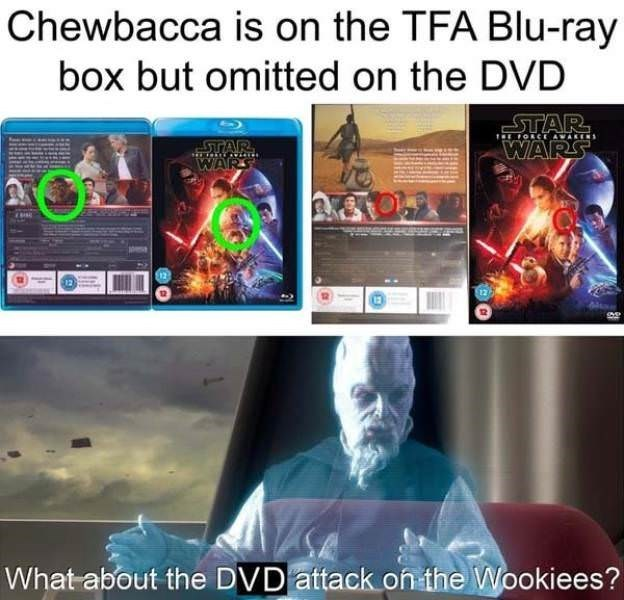 Organism - Chewbacca is on the TFA Blu-ray box but omitted on the DVD .ΤAR. WARS TORCE AWAKENS STAR WARS What about the DVD attack on the Wookiees?