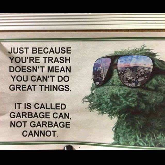 Eyewear - JUST BECAUSE YOU'RE TRASH DOESN'T MEAN YOU CAN'T DO GREAT THINGS. IT IS CALLED GARBAGE CAN NOT GARBAGE CANNOT