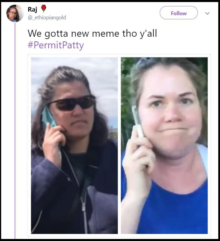 "Meme of Permit Patty and BBQ Becky side by side with the caption, ""We gotta new meme though y'all"""