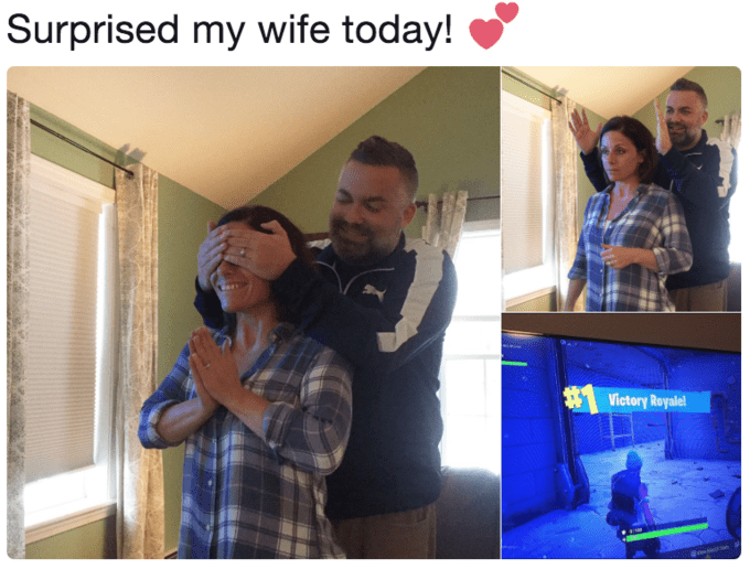 Husband surprises his wife with his Fortnite status