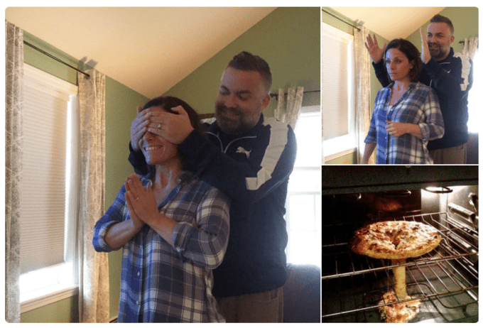 Husband surprises his wife with a messed up pizza in the oven