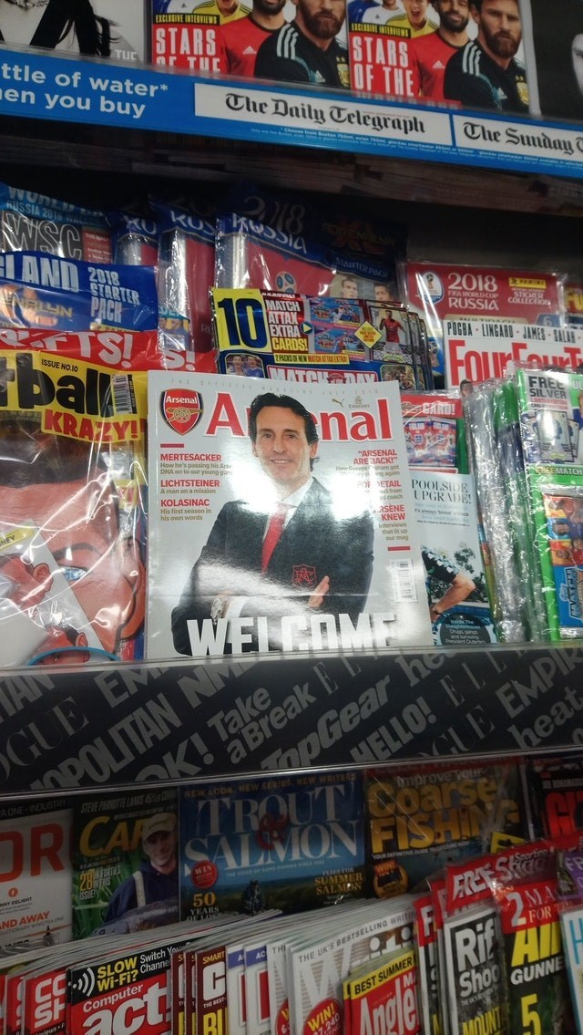 """Publication - EXCLOSIVE INTERVIEWS STARS TUC ttle of water STARS ar TuE en you buy OF THE The Daily Telegraph The Sunday T USSIA ISC AND RR 2018 STARTER SAHTR PAC PACK AISS ballAnal KRALY! 10 2018 EACDCse MATCH ATTAX EXTRA CARDS NFTE RUSSIA Cc POGBA-LINGARD JAMES SALAR ISSUE NO10 2PACKSF NEW MTDTEXTR FOurFou MATCHODAY Arsenal FREE SILVER CARD! MERTESACKER How he's passing his Ars DNA on to our young gans LICHTSTEINER A man on a mission """"ARSENAL ARE 3ACK! ahan ogr againe oETAIL POOLSDE EEORETCY K"""