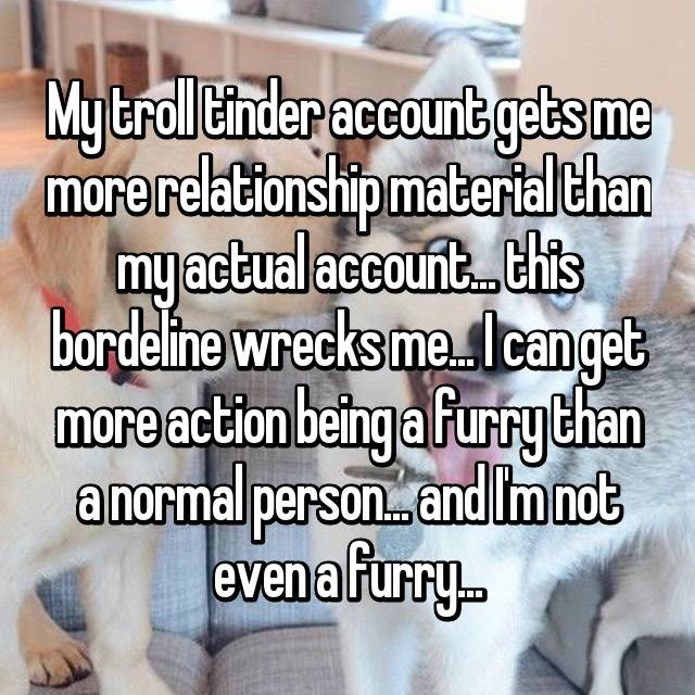 Text - My troll Cinder account gets me morerelationshipmaterialthan my actual account.. .this bardeline wrecks mea lcanget more action being a furrythan anormal person..and Imnot evena furry..