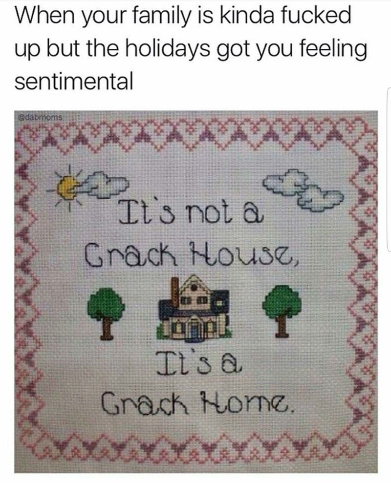 """When your family is kinda fucked up but the holidays got you feeling sentimental"" above a cross-stitch that says, ""It's not a crack house, it's a crack home"""