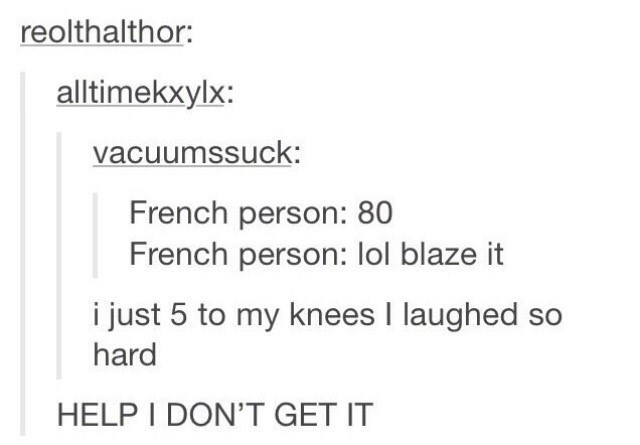 meme - Text - reolthalthor: alltimekxylx: vacuumssuck: French person: 80 French person: lol blaze it i just 5 to my knees I laughed so hard HELP I DON'T GET IT