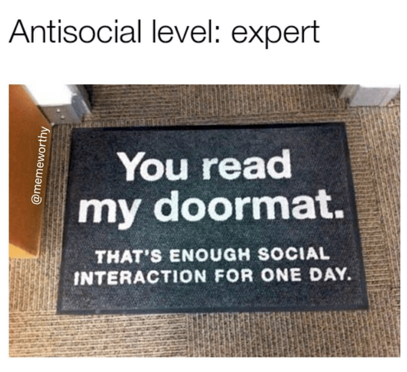 meme - Text - Antisocial level: expert You read my doormat. THAT'S ENOUGH SOCIAL INTERACTION FOR ONE DAY @memeworthy